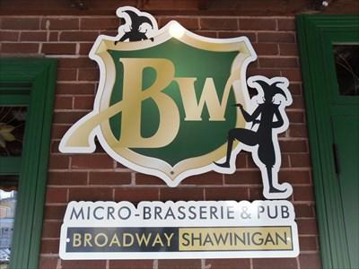 Le logo de la microbrasserie pour le Pub affiché sur le mur près de l