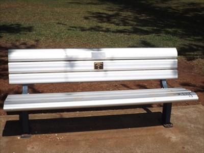 The aluminium slat bench, dedicated to a great cricketer, Arthur Hollis. 1226, Sunday, 11 September, 2016