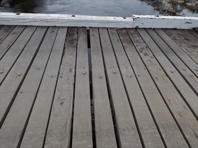 Some gaps between the planks.