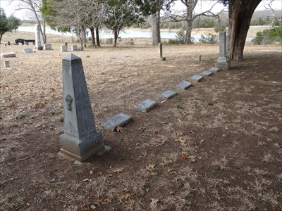 Swayze family plot, anchored by two of the older markers, with modern ones in the middle.