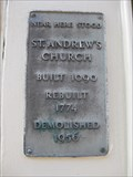 Image for St Andrew's Church Plaque - Parade (High Street), Canterbury, Kent, UK