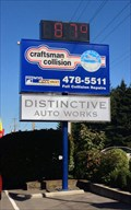 Image for Craftsman Collision Time and Temperature Sign - Colwood, British Columbia, Canada