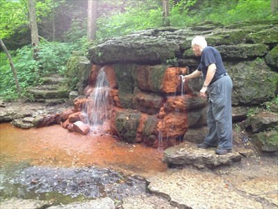 """Drinking mineral water from the yellow springs was a big thing in the 19th century.   There was a Spa building in the glen, and special excursion trains came up here from Cincinnati to """"take the waters""""."""