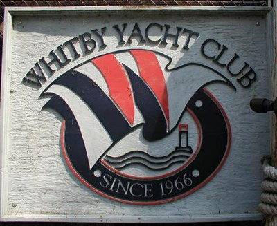Close-up of the nautical sign of the 'Club'