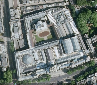 A view of the V&A taken from Google Earth. The entire complex, shown, is the museum.