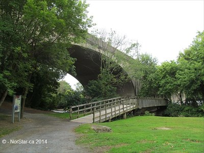 This branch of the bridge goes over Monocacy Creek, and ends at S Main Street.