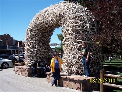 This is my wife and our youngest daughter at one of the four Elk Antler Arches, by MountainWoods