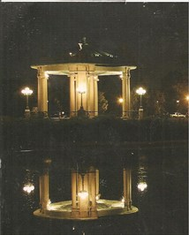 The Bandstand at night across the lake