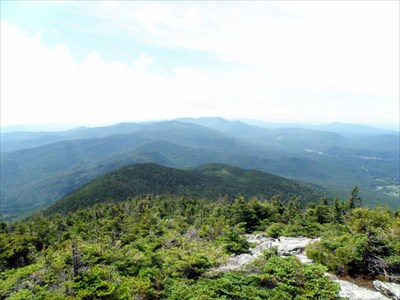 Looking south from the summit, along the ridgeline of the Green Mountains.