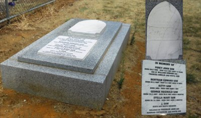 The original headstone, made by Perth Marble Works, reads as follows: <br> <center>