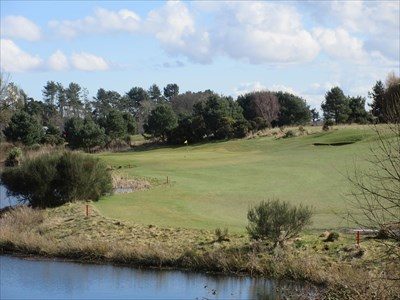 A long par 3 with water along the left-hand side.