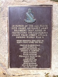 All Black 54th Coast Artillery Army Plaque, Santa Cruz, CA