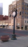 View of the clock with the Oregon Bank Building in the background. This building will be a waymark that you can also visit and log soon.