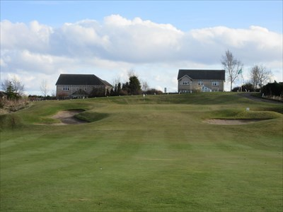 The final hole is uphill to the green.