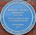 Image for Robert Nesta Marley Blue Plaque - Ridgmount Gardens, London, UK