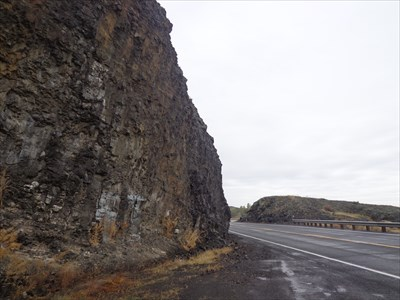 Basalt rocks beside the highway