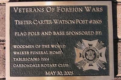 dedication plaque for the veterans memorial