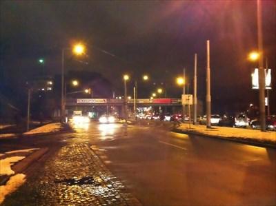 Night photo of the Negrelli Viaduct
