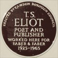 Image for T S Eliot - Thornhaugh Street, London, UK