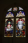 Image for Last Supper/Resurrection of Jesus window -- Ss. Cyril & Methodius Catholic Church, Shiner TX -- USA