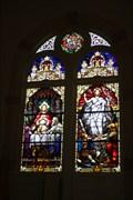 Image for Last Supper/Resurrection of Jesus window -- Ss. Cyril & Methodius Catholic Church, Shiner TX -- USA