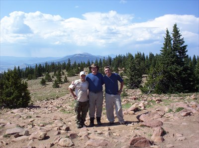 With my son and nephew on top of Mt. Phillips, Baldy in the background