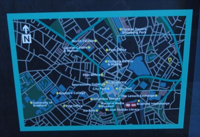 This shows where the area of the map on the front sits in relation to the whole of the city centre.