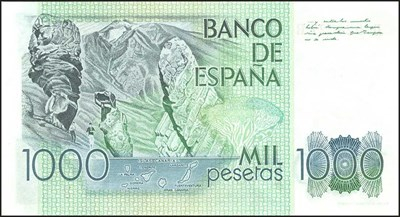 Spanish backnote withdrawn when the Euro was introduced in 1999