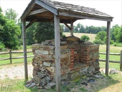 Wilderness Tavern had a house, shops, stables, and other outbuildings. This chimney was to one of the secondary buildings.