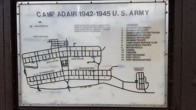 Map of the camp posted at the Camp Adair Memorial Gardens