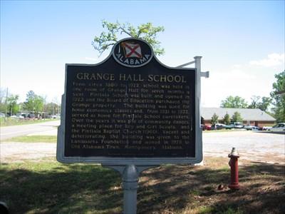 Grange Hall School Historic Marker at the original site.