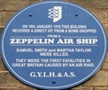 Image for Zeppelin Bombing Blue Plaque - St Peter's Plain, Great Yarmouth, UK