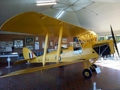 The Tiger Moth on display at the Memorial. 1209, Friday, 1 June, 2018