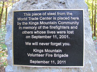 Kings Mtn 9-11 Memorial Plaque, Woodside, CA