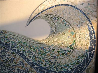 and greens grays Rolling Waves Mosaic in blues