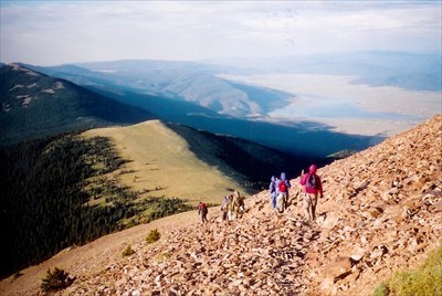 Climbing down toward Baldy Camp, Eagle Nest Lake in background