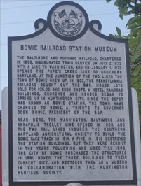 Bowie Railroad Station Museum historical marker in Bowie, Prince Georges County, Maryland