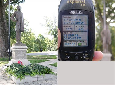 A combination picture of grave site and grave site with GPS