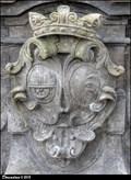 Image for Aliancní erb / Alliance CoA: Chotek z Chotkova & Kinský z Vchynic - Socha Sv. Jana Nepomuckého (Zámek Veltrusy, Central Bohemia)