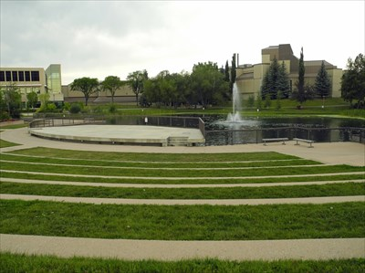 TransCanada Amphitheatre, view from seating toward stage and pond