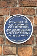 Image for Blue Plaque to Oliver Cromwell, Church Street, Upton-upon-Severn, Worcestershire.
