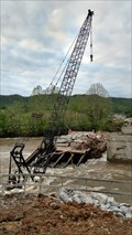 Image for Construction crane falls into Holston River in Weber City, VA