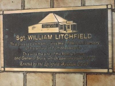 The plaque (on the wall of the travel agent, corner of Horton and Buller Street, Port Macquarie. 1/1/2016