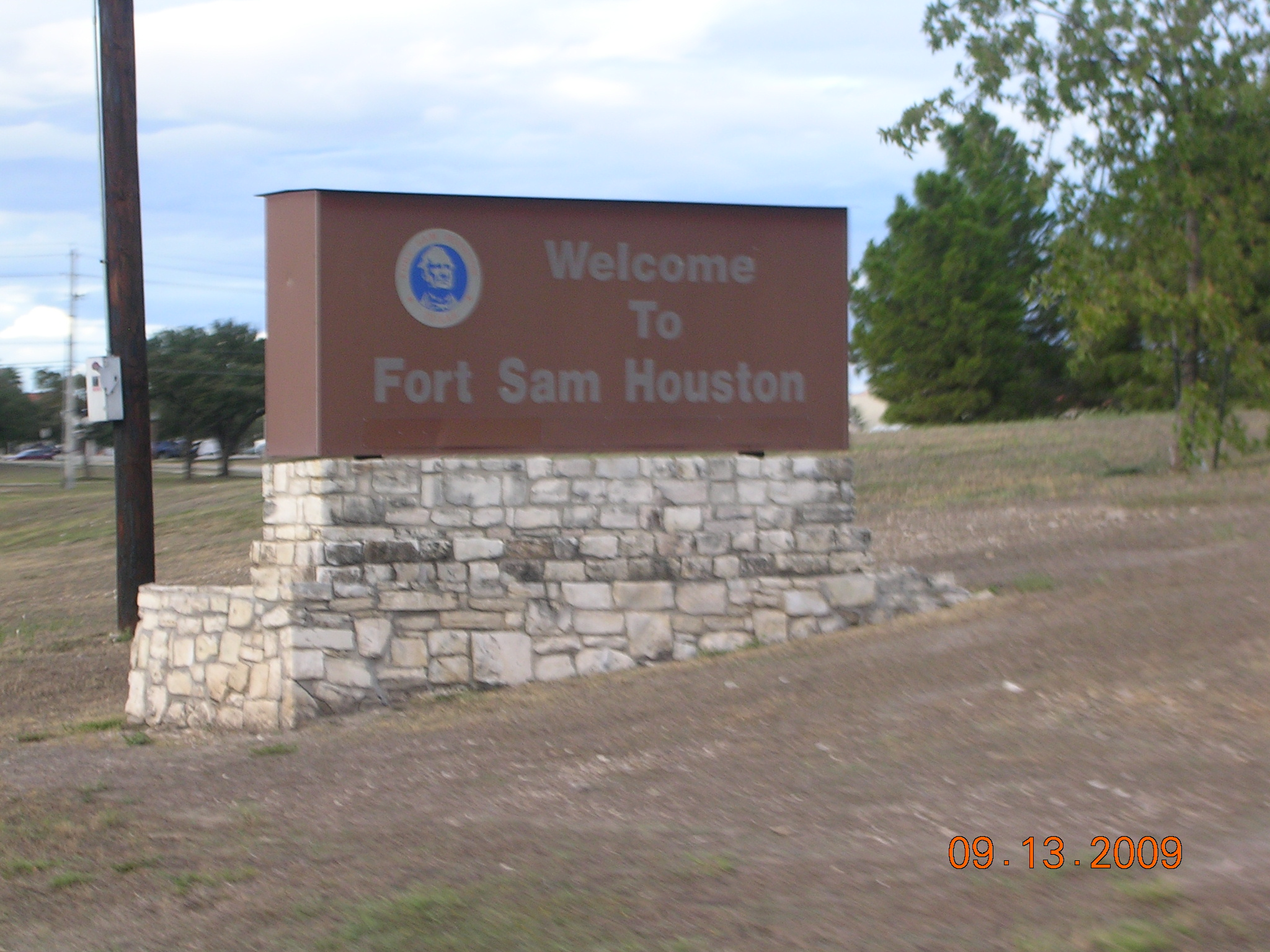 Fort Sam Houston Sign Just Inside The Main Gate
