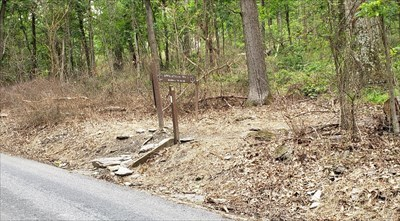 Trailhead sign on Michaux Road.  This is on the north side of the road, take the opposite side to get to the marker.