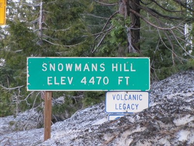 Snowman's Hill Sign, MacCloud, CA