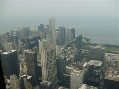 A view of the chase tower from the top of Willis Tower.