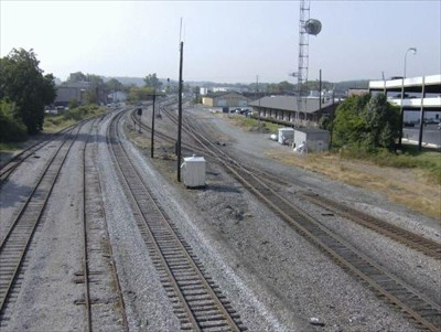 This is from the #2 stop the bridge. It shows a good overall view of the first stop, the old freight depot and crossing.