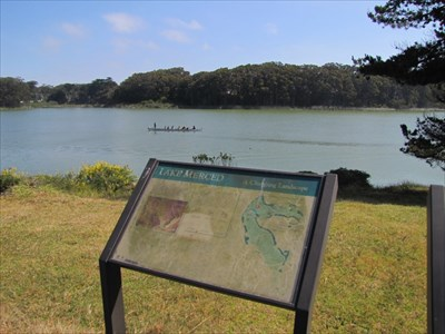 Lake Merced and Sign, San Francisco, CA