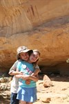 My kids in front of the pictograph.